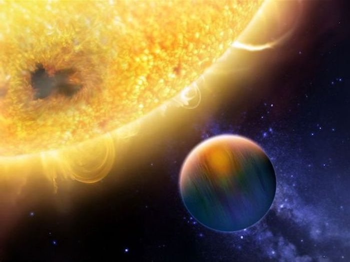 An artist's impression of a hot Jupiter-like exoplanet orbiting its host star very closely.