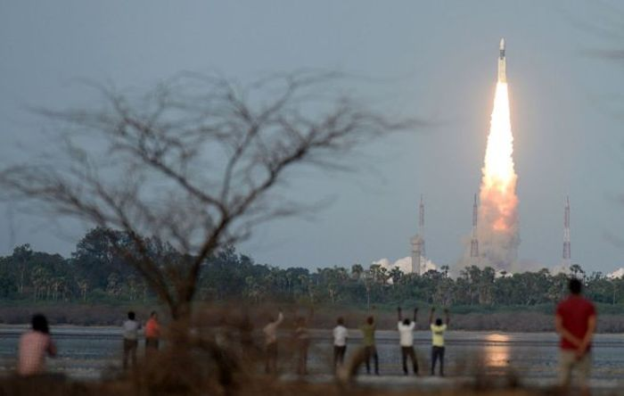 India's largest rocket launches from the pad.