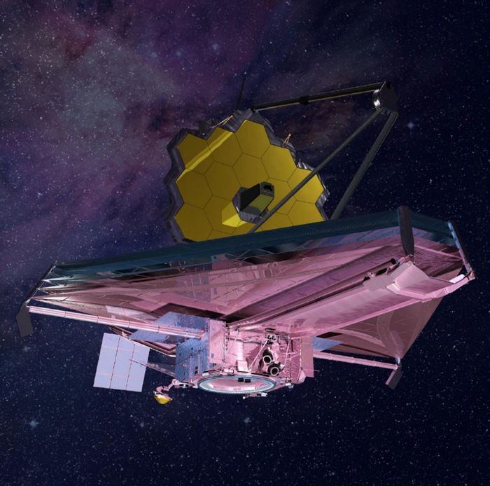 An artist's impression of the James Webb Space Telescope in space.