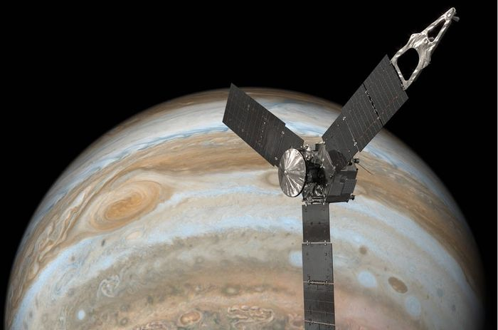 An artist's impression of Juno flying past the Great Red Spot of Jupiter.