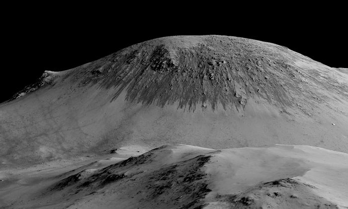 Dark narrow streaks called recurring slope lineae appear on the walls of craters of Mars during the summer seasons than fade when conditions get cooler.