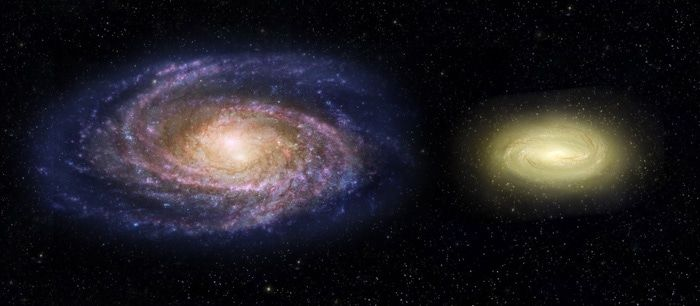 An artist's impression of the Milky Way (left) compared to MACS2129-1 (right).