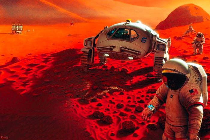 An artist's impression of astronauts walking on Mars.