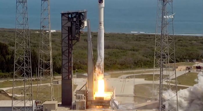 NASA's Atlas V rocket blasts off Tuesday morning, carrying important equipment for the International Space Station.