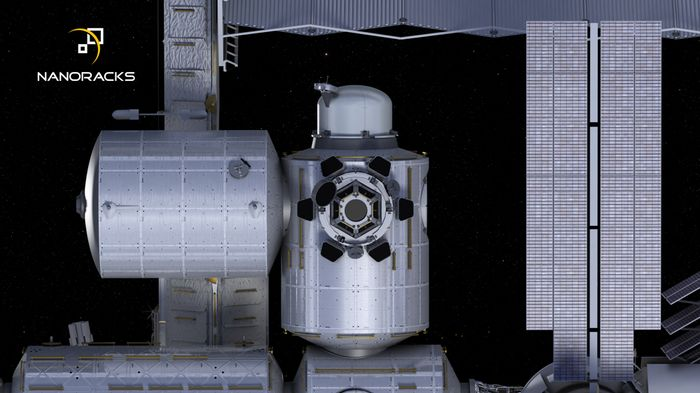An artist's impression of the planned commercial airlock for the International Space Station.