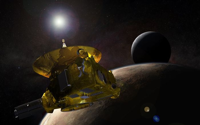 An artist's rendition of the New Horizons spacecraft in space.