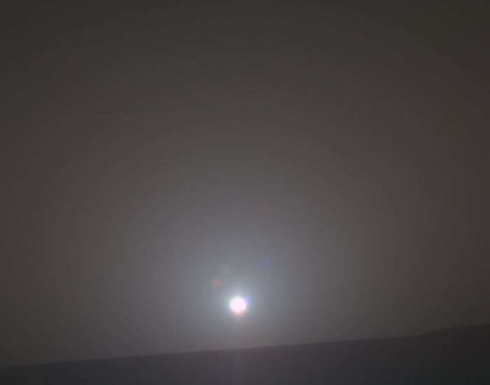 This image, captured by Opportunity's Panoramic Camera (Pancam) illustrates the rover's 4,999th sunrise.