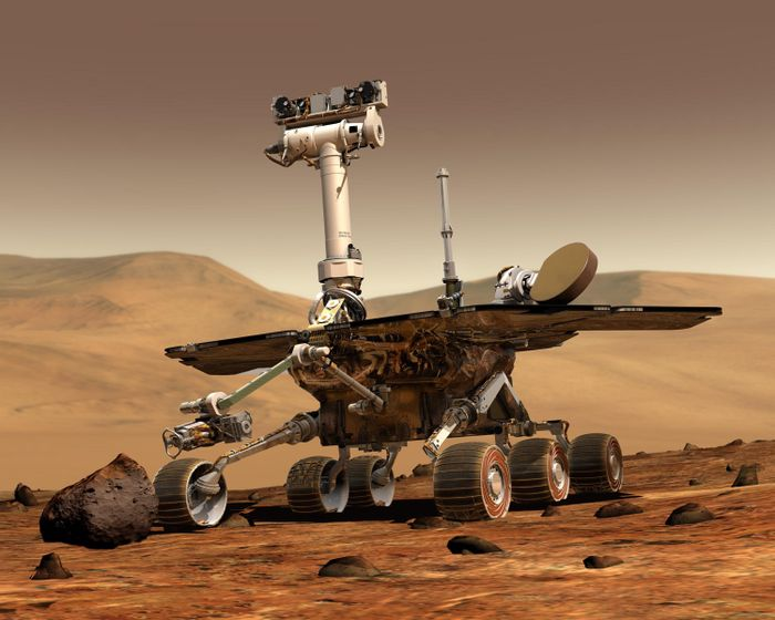 An artist's rendition of the Opportunity rover on Mars.