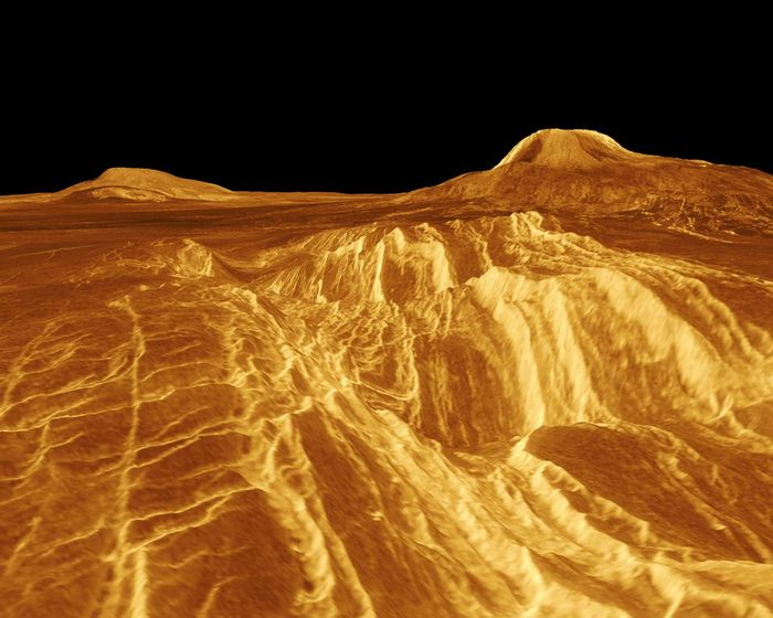 A portion of western Eistla Regio is shown in this 3D, computer-generated view of the surface of Venus. / Credit: This image was produced at the NASA Jet Propulsion Lab's Multimission Image Processing Laboratory by Eric De Jong, Jeff Hall and Myche McAuley