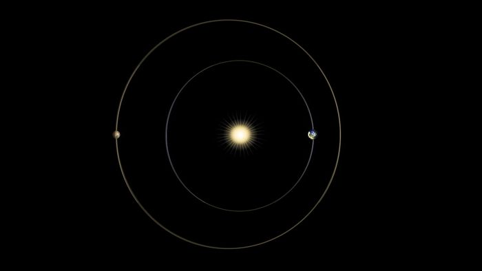 An illustration of a Mars solar conjunction, where the Sun blocks communication signals from our exploration equipment.