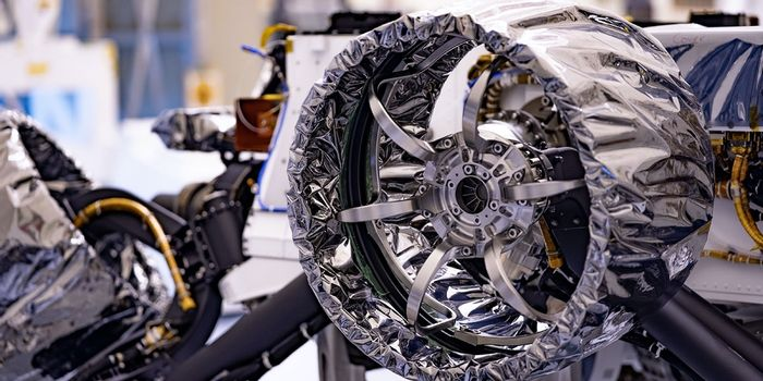 A close up of the rover's covered wheel.