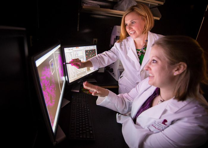 This image shows first author Angela Arensdorf, Ph.D., and corresponding author Stacey Ogden, Ph.D., an associate member of the St. Jude Department of Cell and Molecular Biology. / Credit: Peter Barta / St. Jude Children's Research Hospital