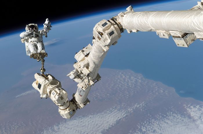 The Canadarm2 is a Canadian-made robotic arm that currently resides at the International Space Station.