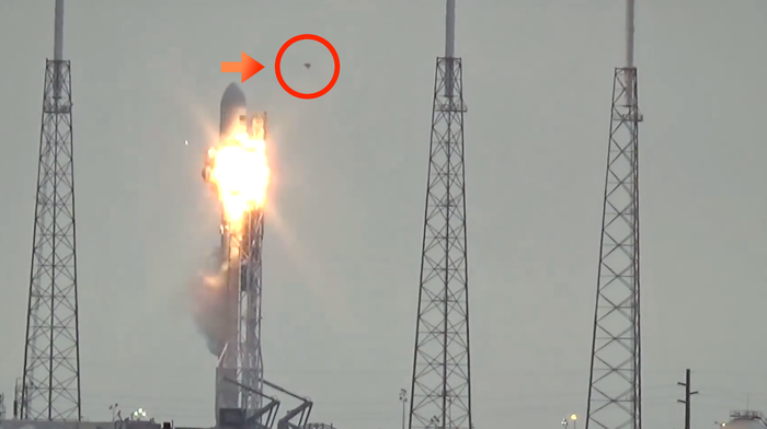 Strange unidentified flying object buzzes past the tip of the rocket, from right to left, just before the explosion.