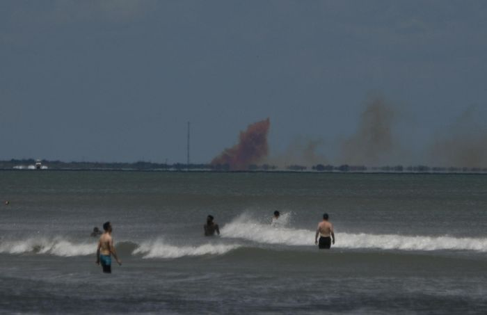 An image of the smoke originating from the SpaceX Crew Dragon capsule on Saturday.