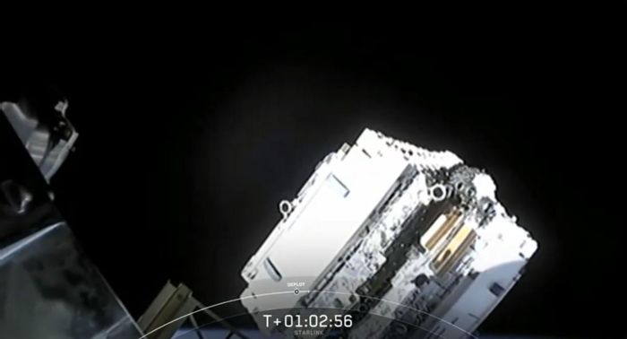 The Starlink satellites after being deployed in space.