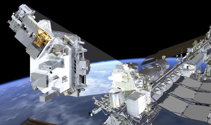 An artist's impression of the TSIS-1 module mounted to the exterior of the International Space Station.