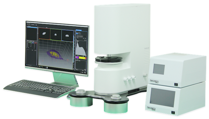 The new Tomocube HT-1 holotomography microscope, shown with its maglev-based antivibration TomoPlate and custom-made controllers for temperature and gas. / Credit: Tomocube