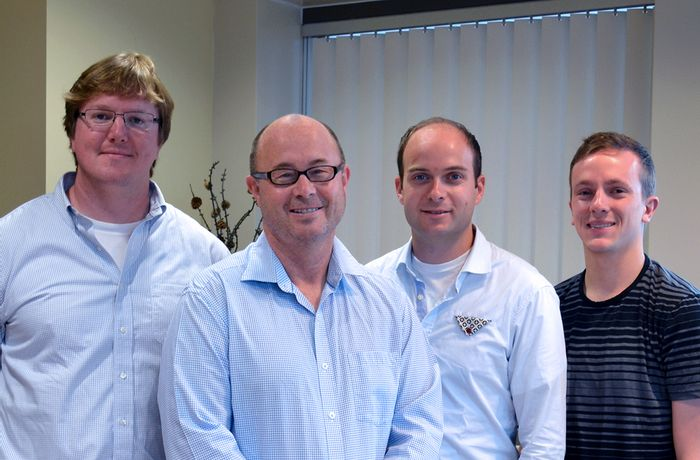 Authors of the new eLife study include (left to right) Luke Wiseman, Jeffery Kelly, Lars Plate and Ryan Paxman of The Scripps Research Institute.
