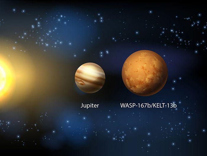 An artist's impression of WASP-167b/KELT-13b next to Jupiter.