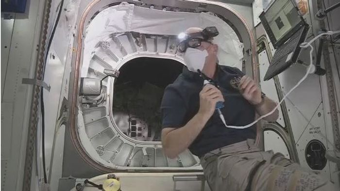 NASA astronaut Jeff Williams went inside of the BEAM inflatable module to take atmospheric measurements.