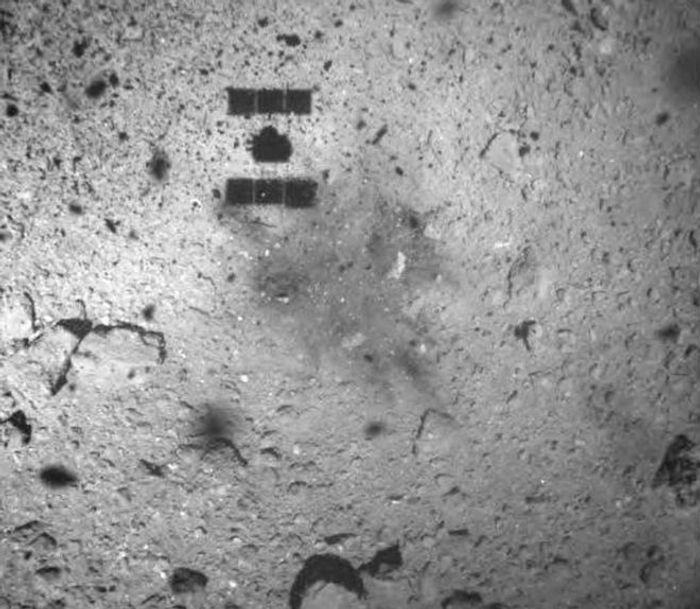 The 'dark spot' left behind by the Hayabusa-2 spacecraft.