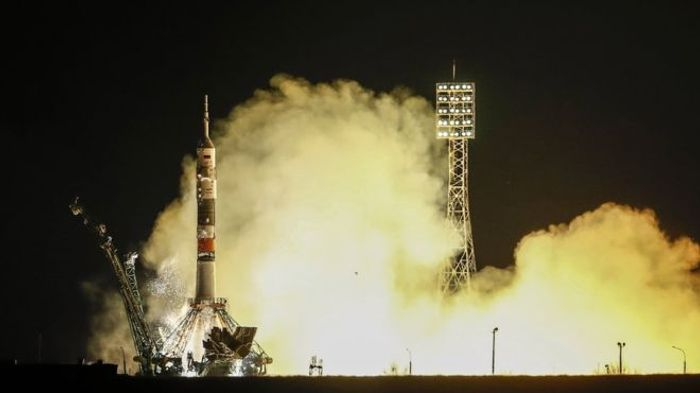 The Soyuz spacecraft just before launch on Friday.