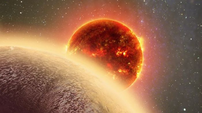 An artist's impression of GJ 1132b and its thick atmosphere.