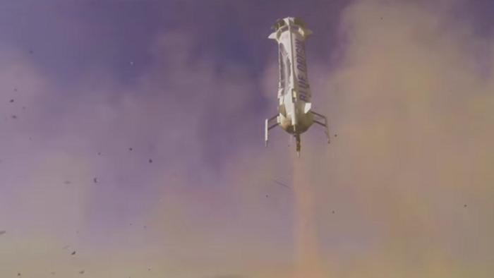 Blue Origin's New Shepard rocket lands upright yet again on Friday.