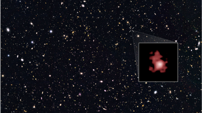 Galaxy GN-z11 as pictured by the Hubble Space Telescope.