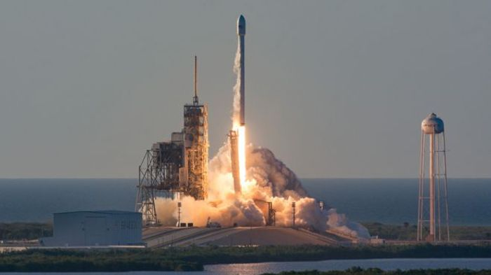 A SpaceX Falcon 9 launches from Kennedy Space Center with an Inmarsat satellite.