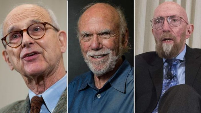 Image depicts all three of the Nobel Physics Prize laureates. Weiss, Barish, and Thorne.