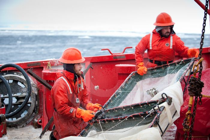 Sampling with nets on board CCGS Amundsen. Photo: All Photos ArcticNet