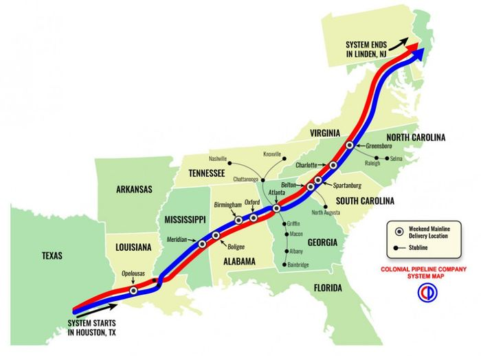Map of Colonial Pipeline's petroleum pipelines. Photo: Colonial Pipeline