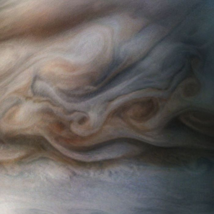 A close-up of Jupiter's mysterious swirling clouds as captured by Juno.