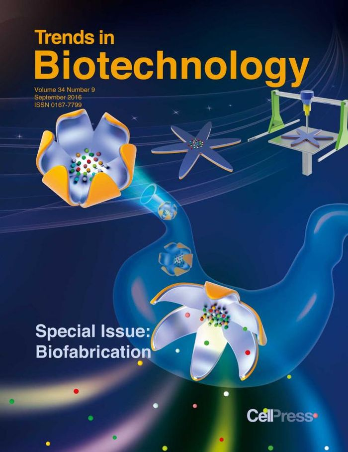 The cover of Trends in Biotechnology's special issue on biofabrication. / Credit: Cover image from Feng Xu and cover design by Matthew Pavlovich.