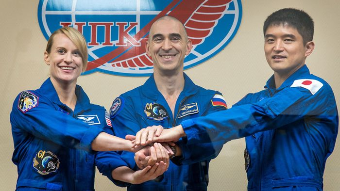 Three more astronauts prepare to lift off for the International Space Station on Wednesday.