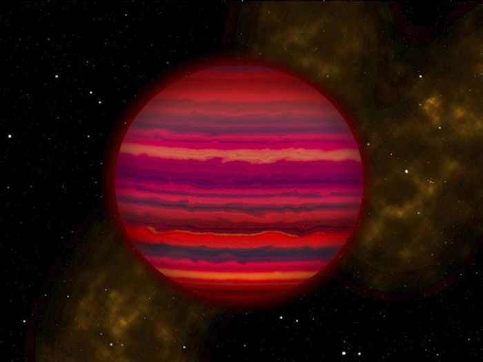 A brown dwarf 7.2 light years away probably contains water vapor and water ice.
