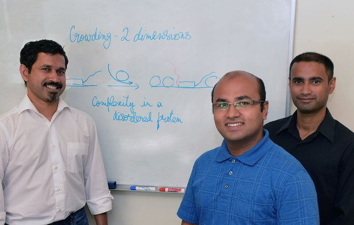 "The Scripps Research Institute's Ashok Deniz, Mahdi Muhammad Moosa and Priya Banerjee (left to right) were authors of the new study, which was designated as a ""hot paper"" by Angewandte Chemie."