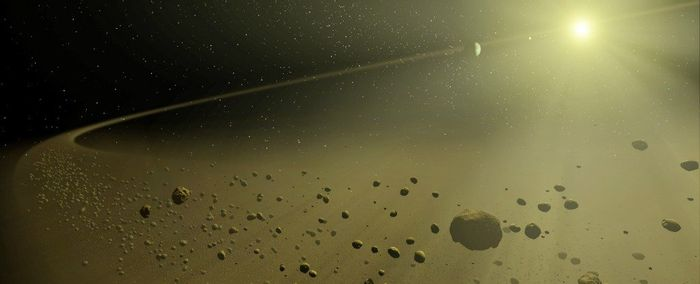An artist's impression of a star with tons of space debris orbiting it.