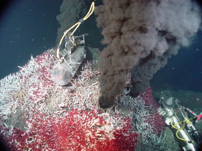 A 'black smoker' hydrothermal vent, the origin of many rich, submerged sulphide deposits. Photo: NOAA