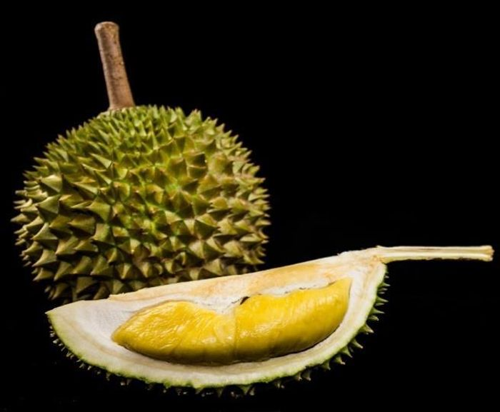 This is a photograph of Durian (intact and opened). / . Credit: Kevin Lim, Yong Chern Han, Cedric Ng