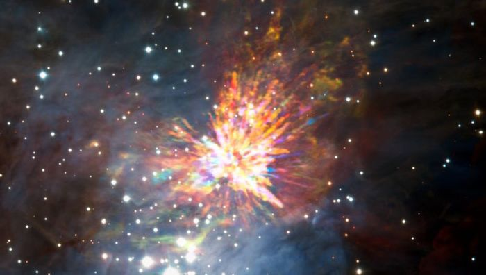 An explosion in the Orion Constellation that was caused by the collision of two protostars.
