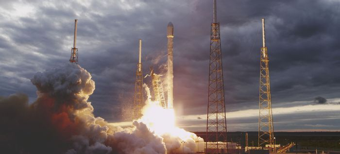 A SpaceX Falcon 9 rocket launching for space.