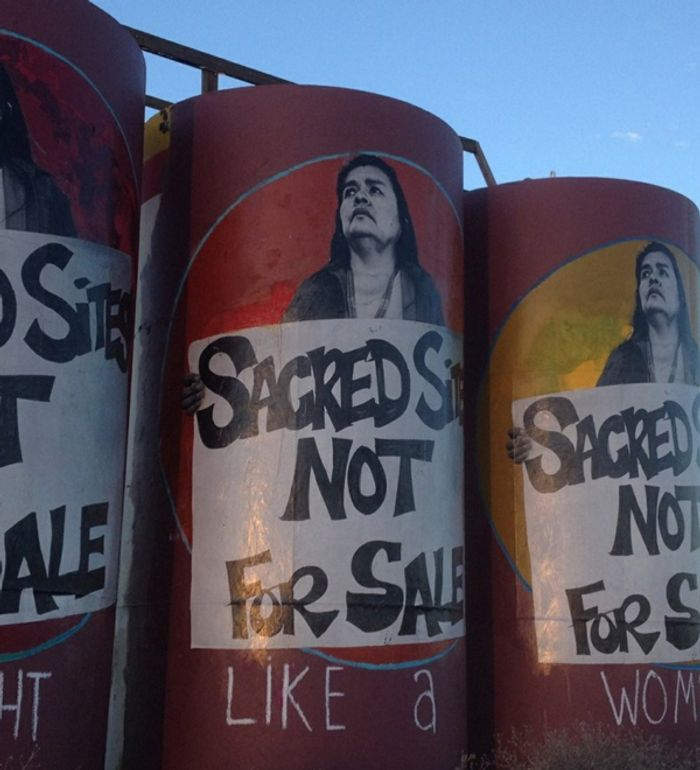 A roadside mural opposes the project. Photo: Grand Canyon Trust