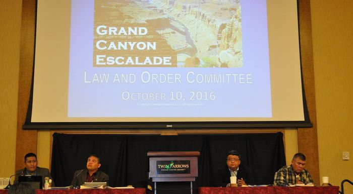 Navajo Nation council delegates listen to a presentation about the Grand Canyon Escalade. Photo: Emery Cowan