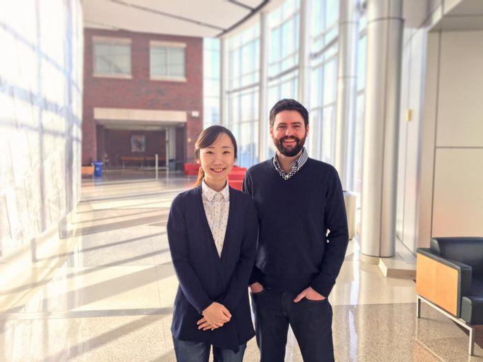 Jiyoon Lee, PhD, and Karl Koehler, PhD. / Credit: Indiana University School of Medicine