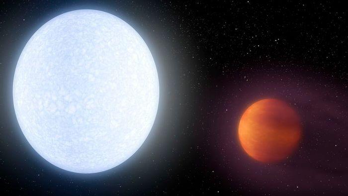 An artist's impression of KELT-9b as it orbits its host star, KELT-9.