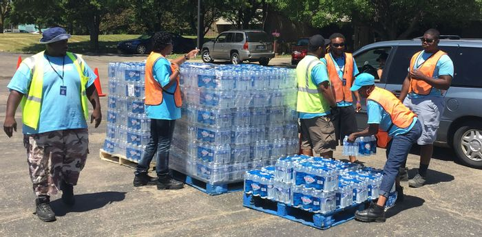 donated bottled water is delivered to Flint residents, credit: Ruth Mott Foundation