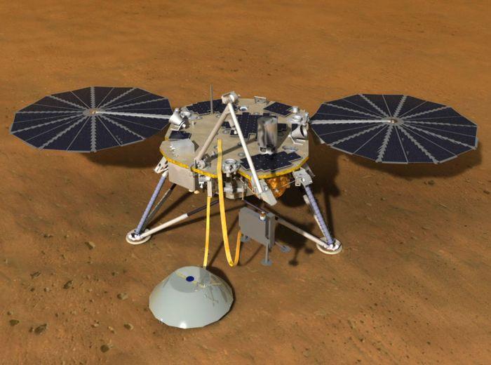 An artist's rendition of the InSight lander.